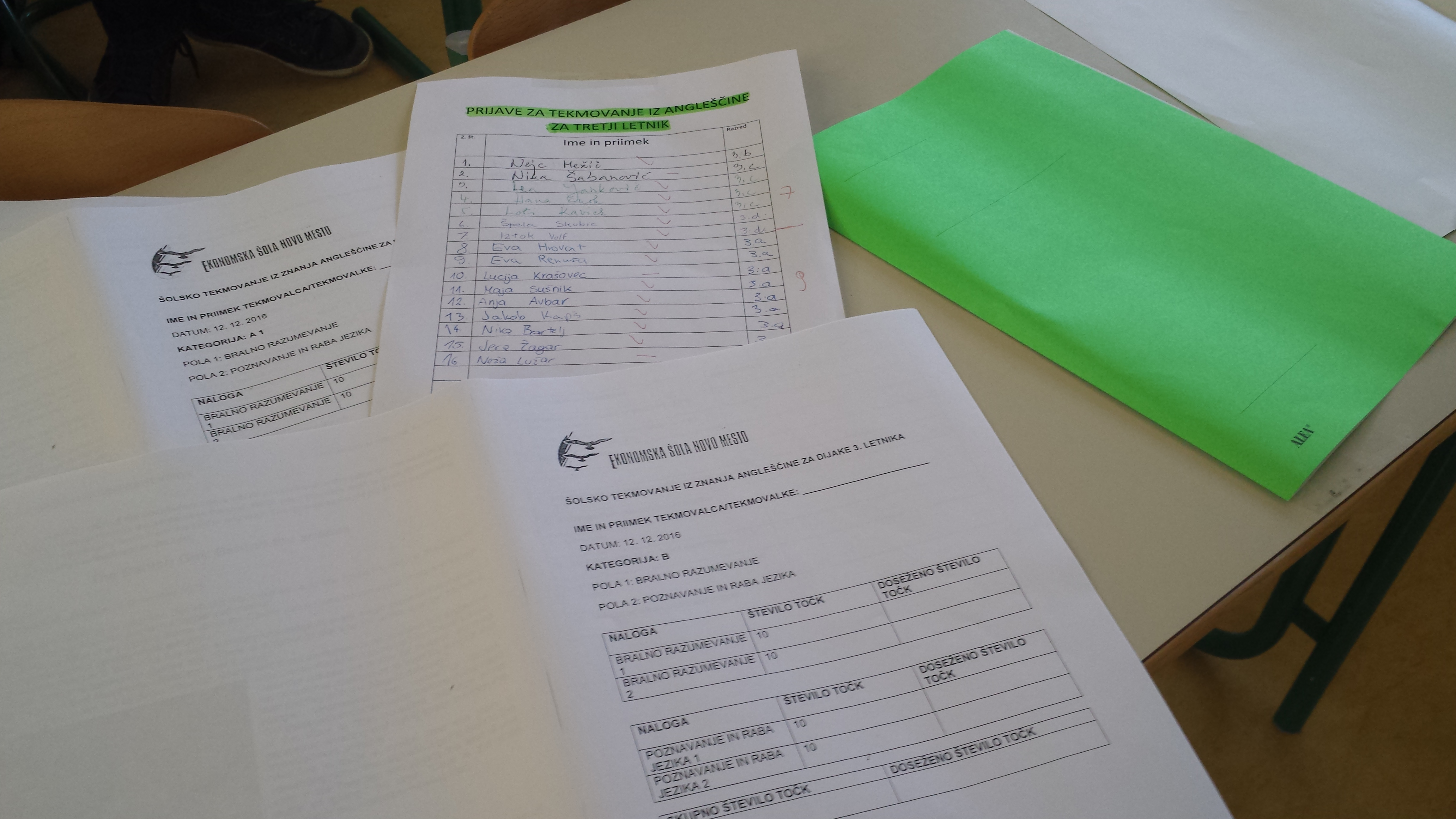 Tekmovanje iz znanja angleščine za dijake 3. letnika